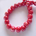 Margele portelan rosu perlat