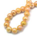 Margele portelan galben auriu perlat