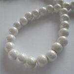 Margele portelan alb perlat