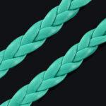 Snur impletit imitatie piele turquoise