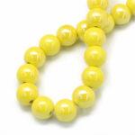 Margele portelan galben perlat