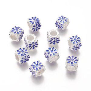Distantier tip Pandora, culoare argintiu deschis floare email albastru