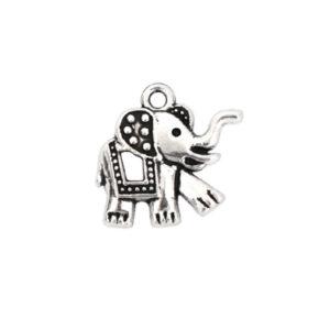 Charm elefant argintiu