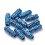 Margele acril tubulare, culoare albastru